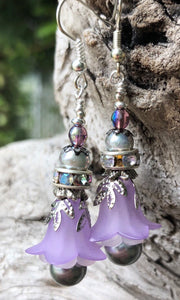 Lavender and Silver Tulip Style Earrings