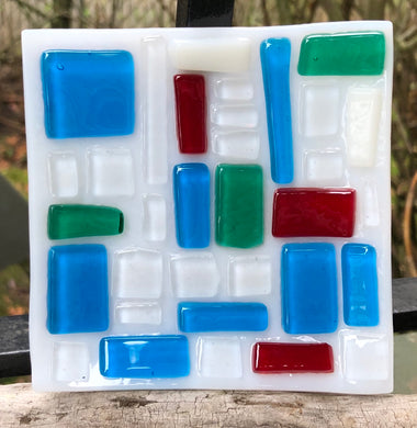 Checkerboard Style Small Fused Glass Dish