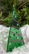 Load image into Gallery viewer, Holiday ornaments - Green with Pink Dichro
