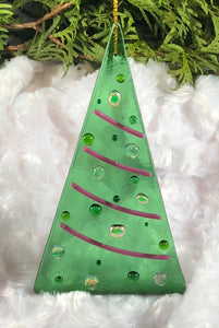 Holiday ornaments - Green with Pink Dichro