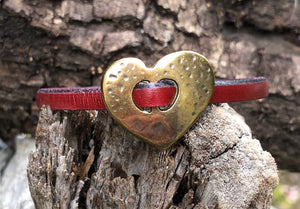 Leather Bracelet - Cordovan with Bronze Heart