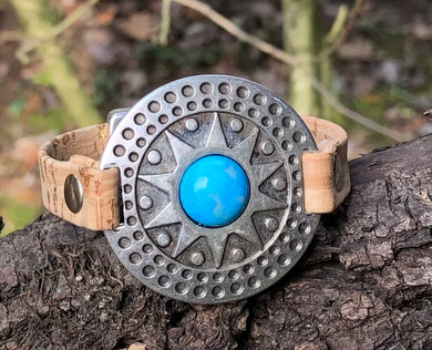 Leather Bracelet - Tribal in Turquoise