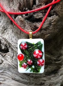Fused Glass Pendant - Holly and Peppermint