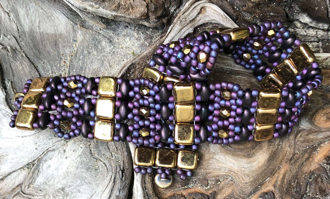 Beaded Bracelet - Purple and Gold Brocade