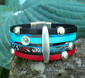 Leather Bracelet - Multi banded Red and Turquoise with Crystals