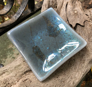 Shimmering Leaves Fused Glass Dish