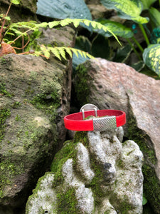 Leather Bracelet - Red with Hammered Disc