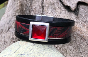 Leather Bracelet - Triple Band Red and Black