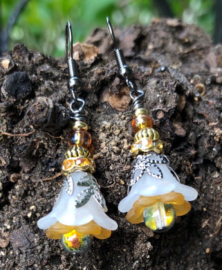 White Gold and Amber Tulip Style Earrings
