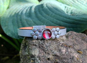Leather Bracelet - Silver Leather with Red Slider