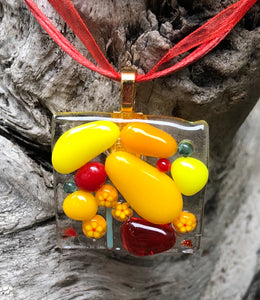 Sunny Garden Fused Glass Pendant