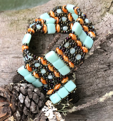 Beaded Bracelet - Coral Seafoam and Bronze Brocade
