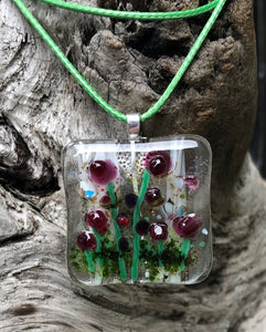 Dark Pink Poppies Fused Glass Pendant