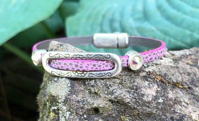 Leather Bracelet - Pink Polka Dot leather with Pale Pink Crystals