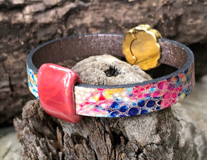 Leather Bracelet - Colors with Gold and Ceramic Slider