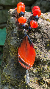Mineral Necklace - Carnelian and Onyx