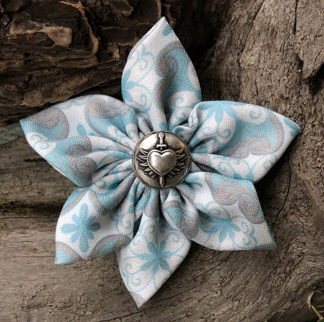 Fabric Flower - White Gray Light Blue