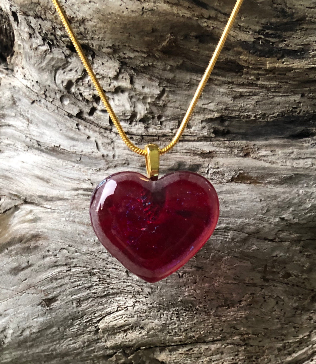 Red Iridescent Heart Fused Glass Pendant