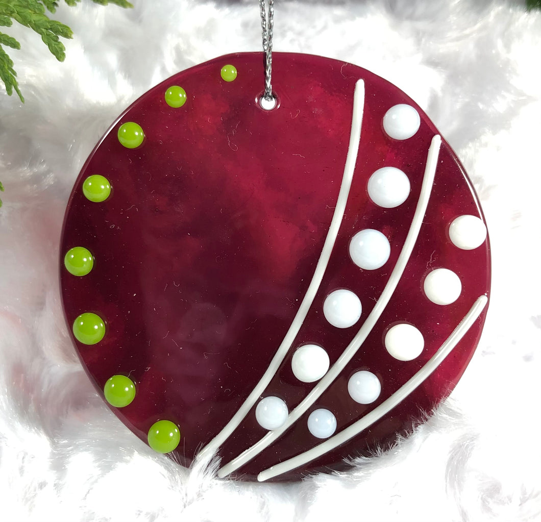Holiday ornaments - Cranberry Sphere with Lime