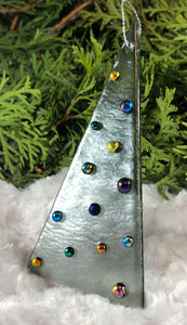 Holiday ornaments - Silver Iridescent with Dichroic glass