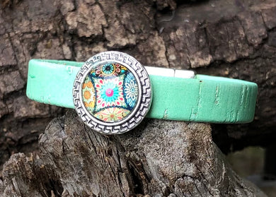 Leather Bracelet - Light Turquoise Green Portuguese Cork