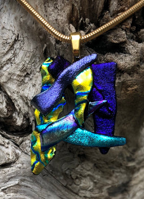Dark Dichroic Cluster Fused Glass Pendant