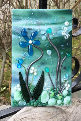 Steel Blooms Fused Glass Panel