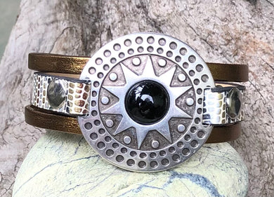 Leather Bracelet - Triple Band Medallion