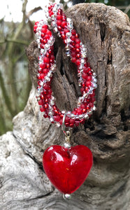 Kumihimo Necklace - Twisted Heart