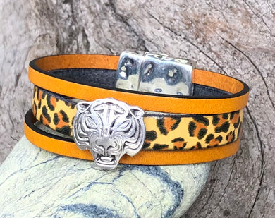 Leather Bracelet - Triple Band Leopard