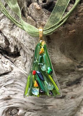 Christmas Tree Fused Glass Pendant