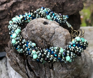 Beaded Bracelet - Bronze Olive and Teal