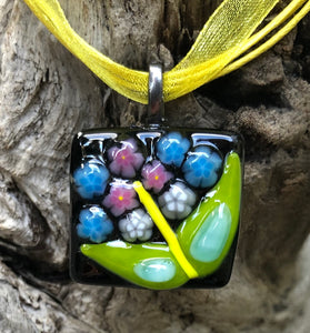 Petite Blooms Fused Glass Pendant