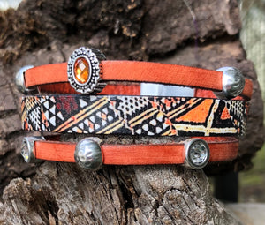 Leather Bracelet - Tribal style with Bling