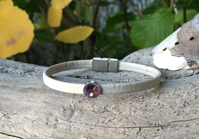 Leather Bracelet - Light Gray cork bracelet with Pink crystal slider