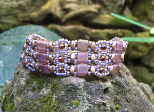 Bronze and Light Purple Czech Glass Beaded Bracelet with Magnetic Clasp