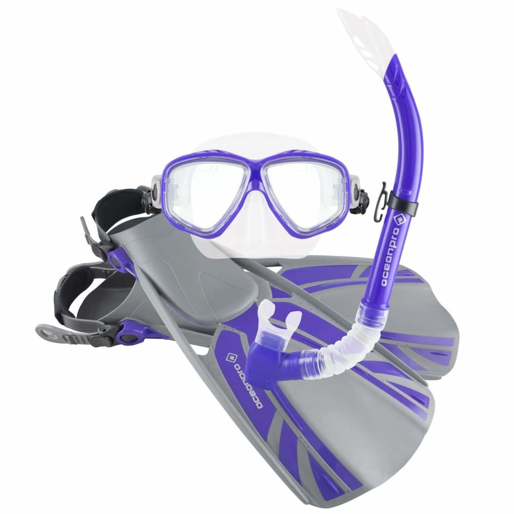 Oceanpro Blade Mask Snorkel Fin Set - Purple / Size 4 - 8.5 - Mask / Snorkel / Fin Sets