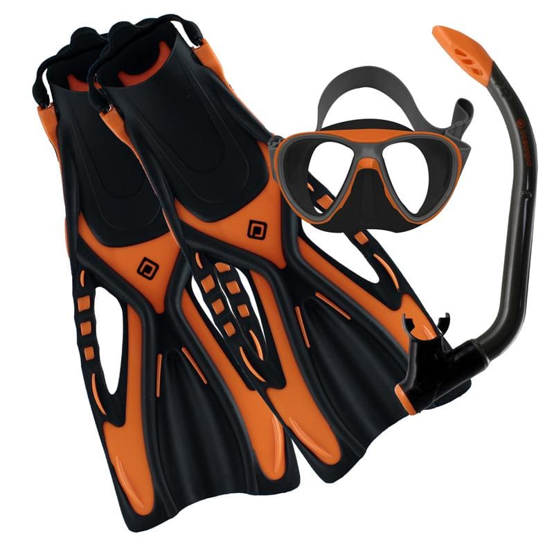 Oceanpro Bondi Youth Mask Snorkel Fin Set - Youth 9-13 / Orange/Grey - Mask / Snorkel / Fin Sets