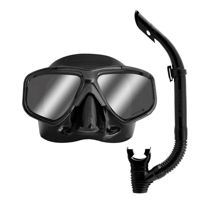 Oceanpro Covert Mask & Snorkel Set Black - Mirror Lens - Mask / Snorkel Sets