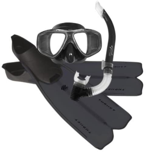 Oceanpro Thrust Mask Snorkel Fins Set - Black / Size 10-11 - Mask / Snorkel / Fin Sets