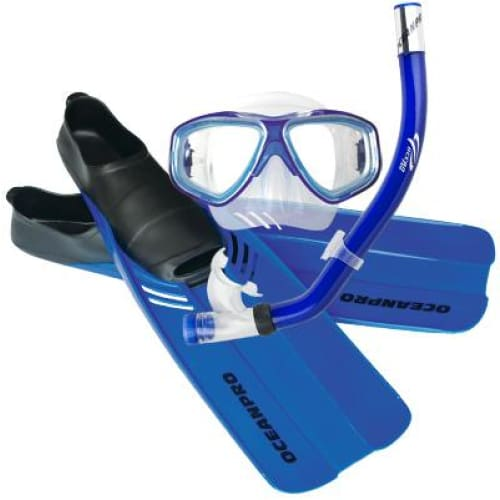 Oceanpro Tour Mask Snorkel Fin Set - Blue / Size 11-13 - Mask / Snorkel / Fin Sets