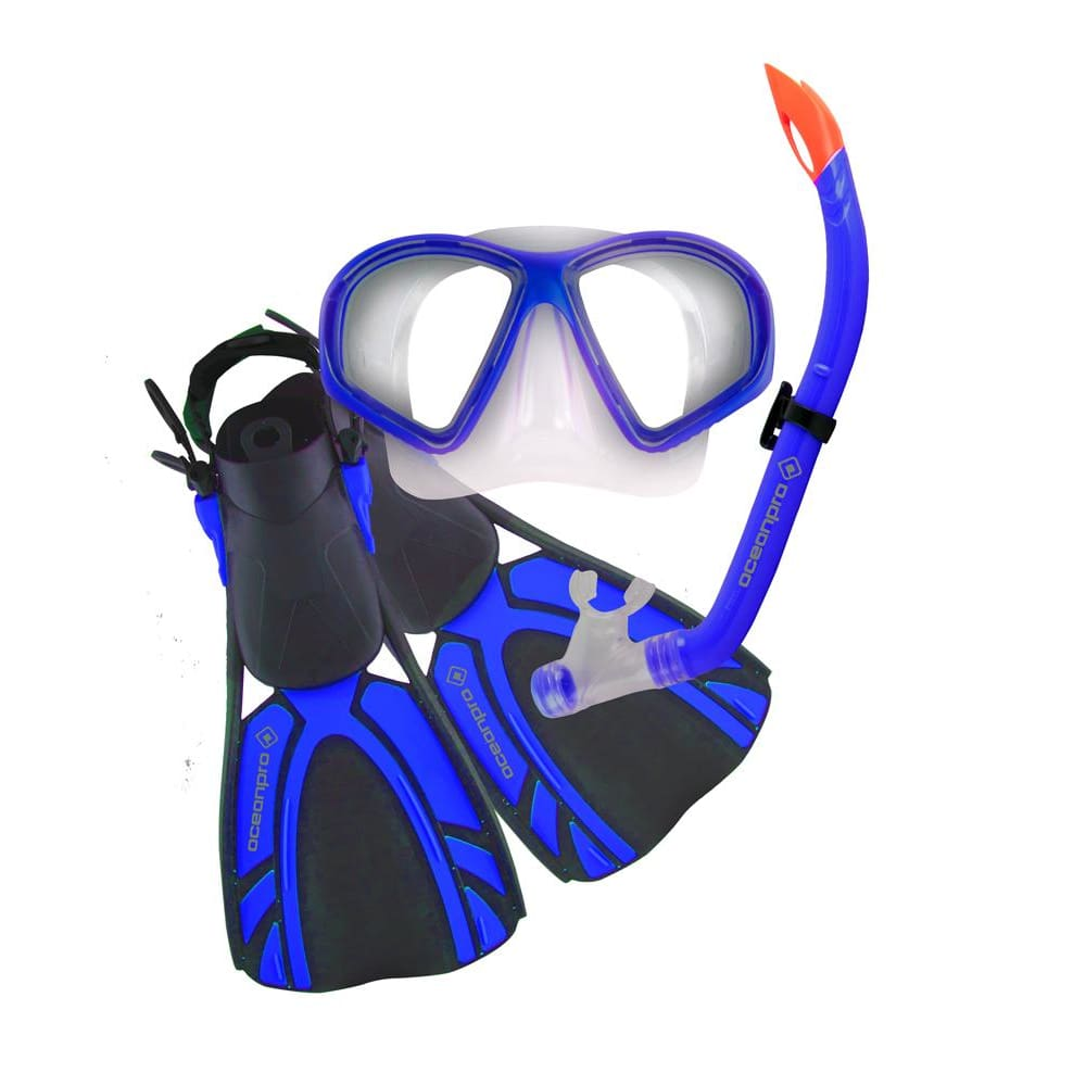 Oceanpro Turtle Junior Mask Snorkel Fin Set - Blue / Size 1-4 - Mask / Snorkel / Fin Sets