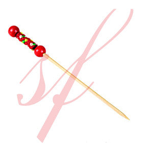 Bamboo pearl skewer 4.7 in. red