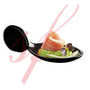 Black Porcelain Mini Fish Spoon 1 oz.