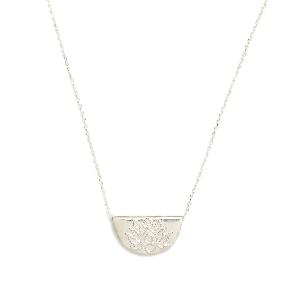 by charlotte - silver lotus short necklace