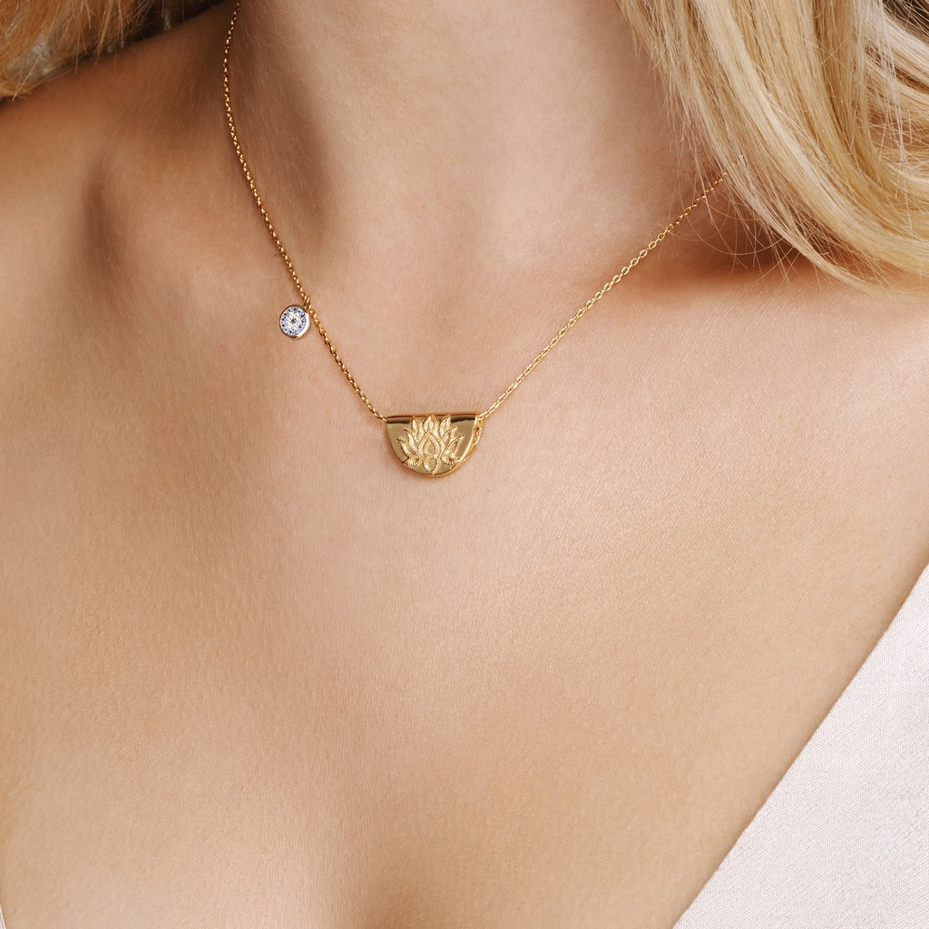 by charlotte - gold lucky lotus necklace