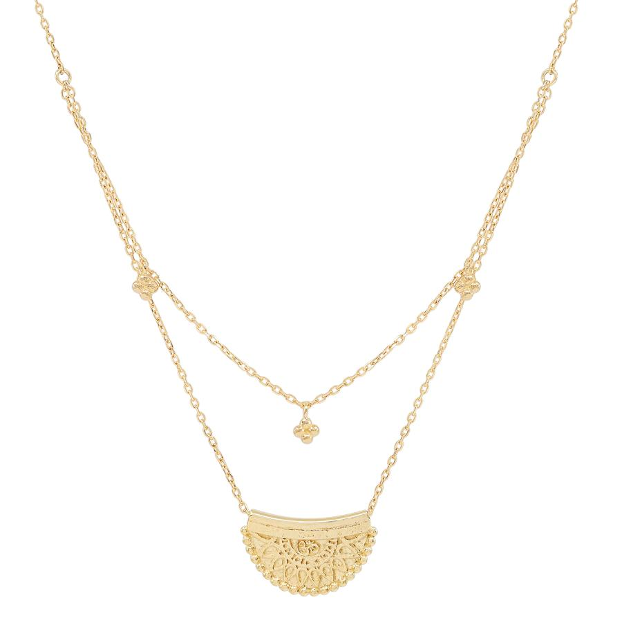 by charlotte - gold radiant lotus necklace