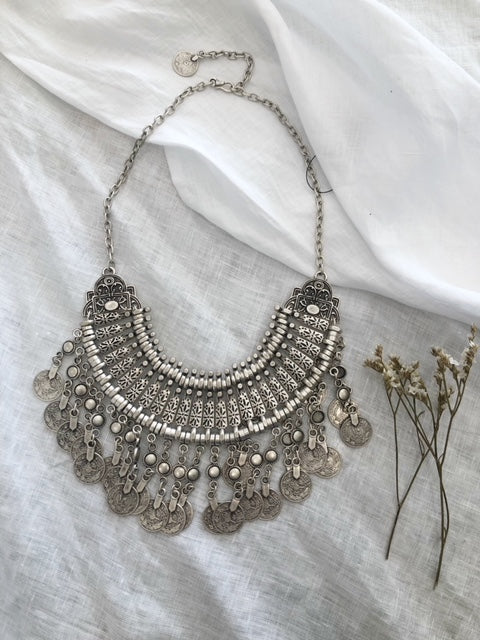 armenian statement necklace - silver