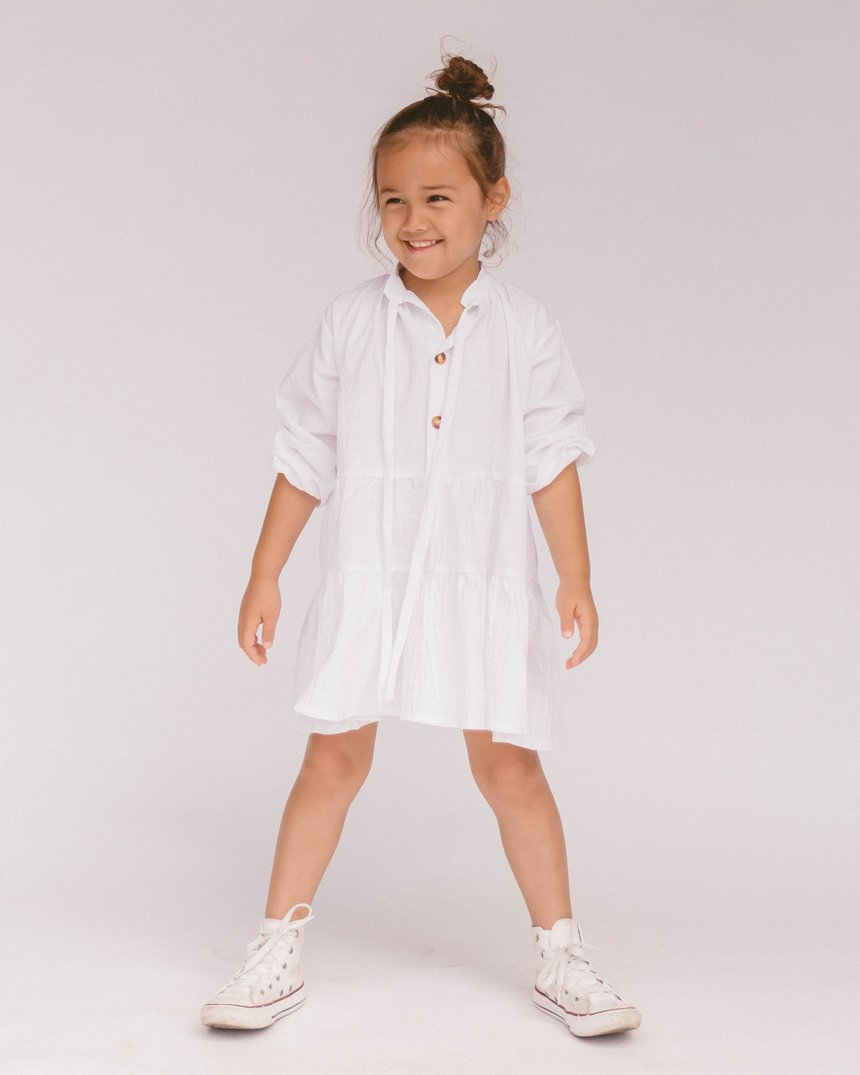 the lullaby club - mini avalon smock dress - white