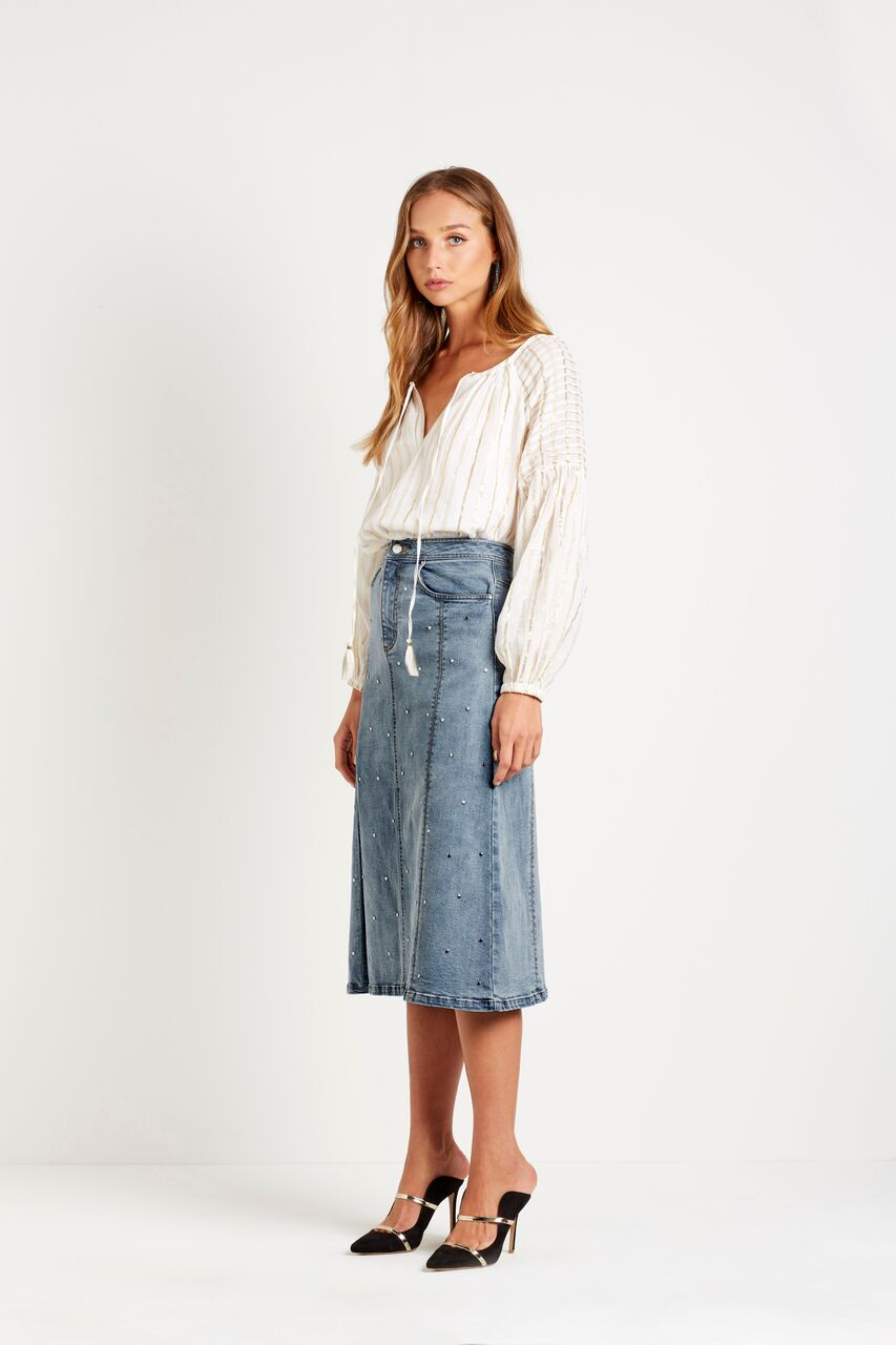 steele - tyler stud midi skirt - denim